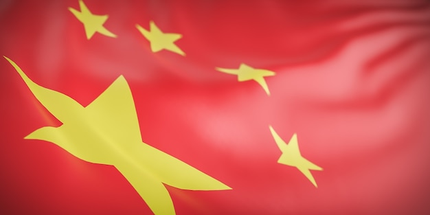 Красивая волна флаг китая крупным планом на фоне баннера с копией пространства., 3d модель и иллюстрация.