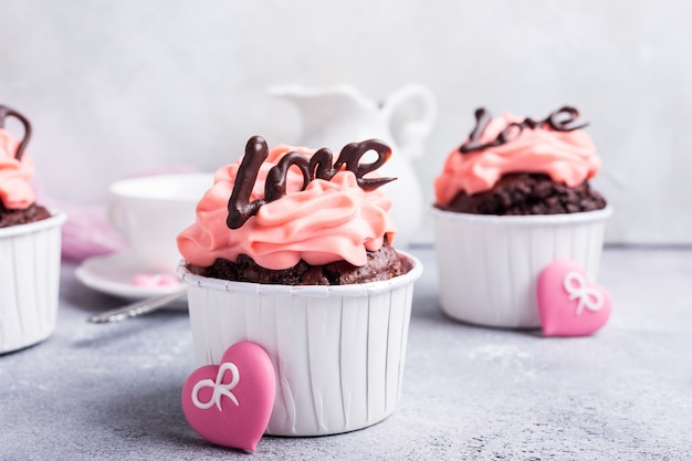 Beautiful chocolate cupecake with heart