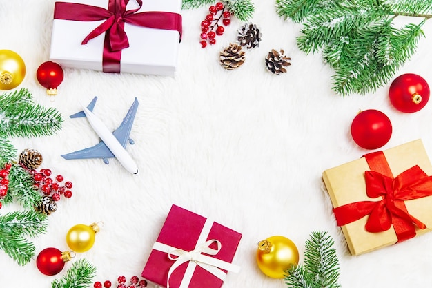 Beautiful christmas background with airplane, travel concept. selective focus. holiday.