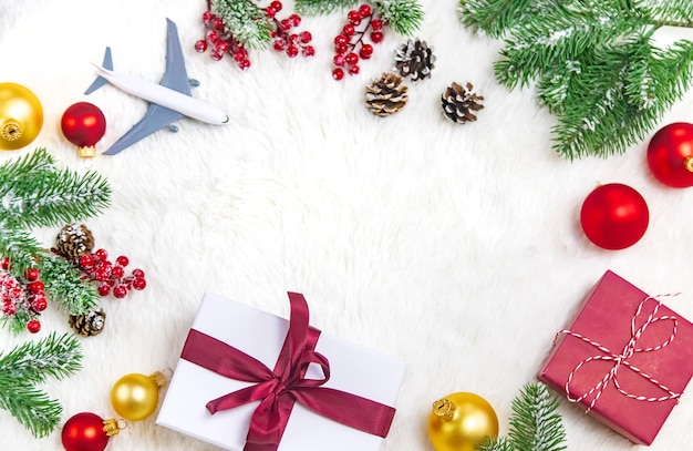 Beautiful christmas background with airplane, travel concept. selective focus.