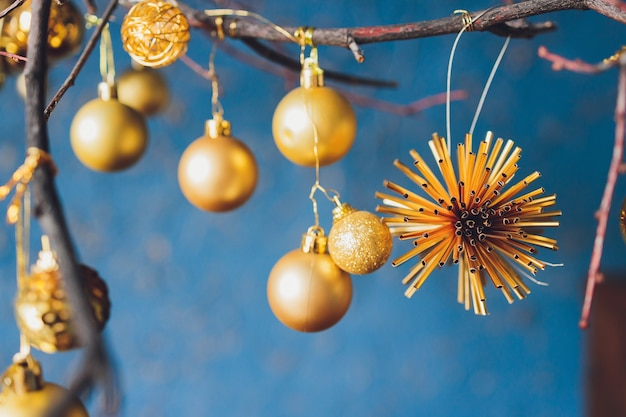Copyspace 공 새 해와 아름 다운 크리스마스 배경입니다.