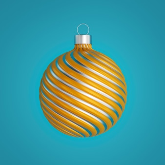 Beautiful christmas ball isolated on deep aquas, 3d illustration
