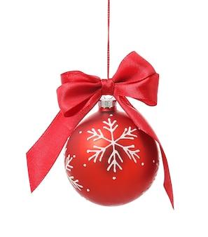 흰색 표면에 아름 다운 크리스마스 공