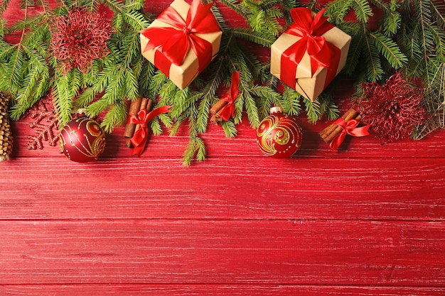 Beautiful christmas composition on color wooden background