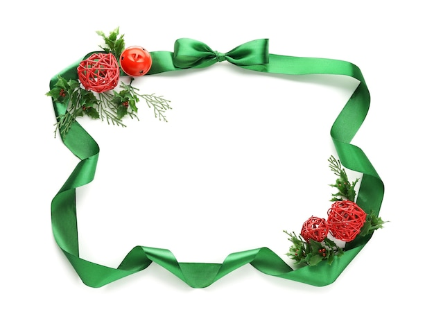 Beautiful christmas composition on white surface