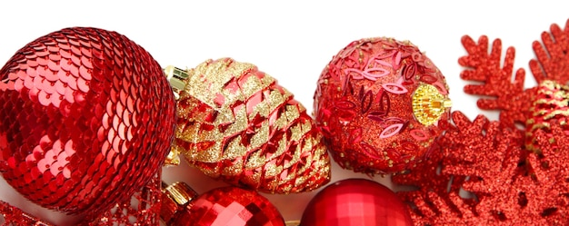 Beautiful christmas decorations isolated on white