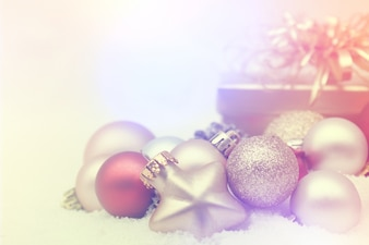 Beautiful christmas decorations with a gift