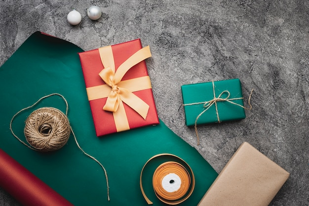 Beautiful christmas gifts on marble background