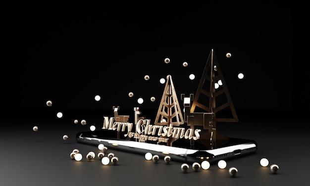 다크 블랙에 아름 다운 크리스마스 황금 실버 데코 싸구려.