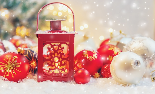 Beautiful christmas ornaments with snow