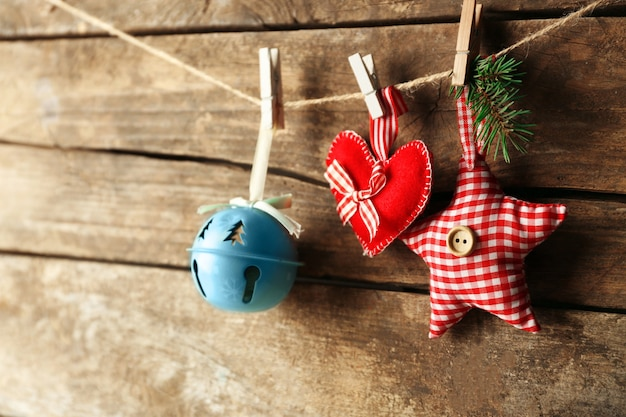 Beautiful christmas toys on old wooden surface