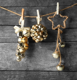 Beautiful christmas toys on old wooden wall