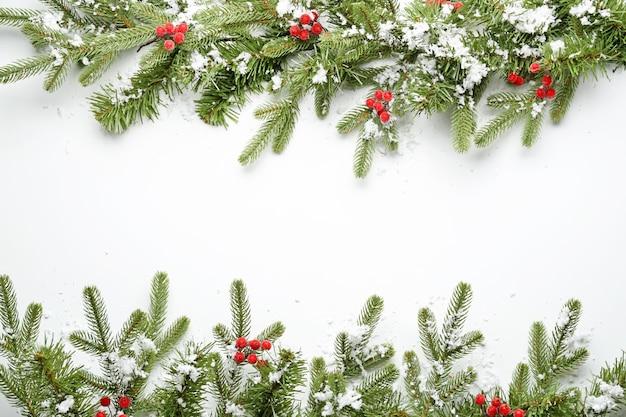 눈과 흰색 열매와 아름 다운 크리스마스 나무 가지