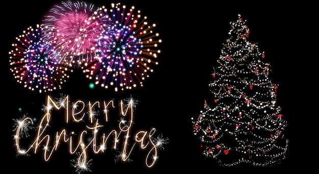 불꽃놀이와 메리 크리스마스 메시지로 장식된 아름다운 크리스마스 트리