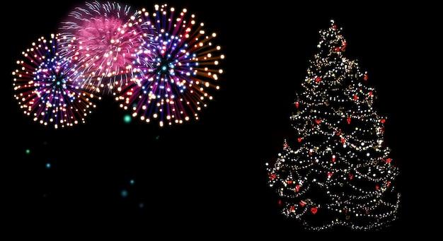 불꽃놀이로 물든 아름다운 크리스마스 트리