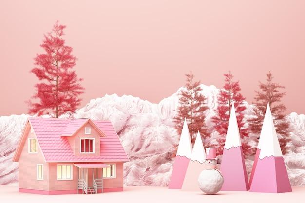 산과 낮은 폴리 전나무 나무 3d 렌더링 핑크 톤 컬러의 아름다운 크리스마스 겨울 눈 덮인 풍경