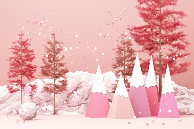 Beautiful christmas winter snowy landscape of pink tone color with mountains and low poly fir trees 3d rendering