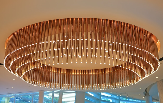 Beautiful circle chandelier on ceiling.