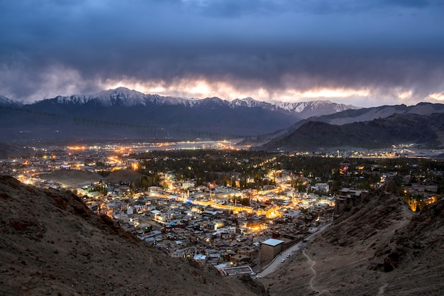 Beautiful city landscape in night time of leh ladakh district