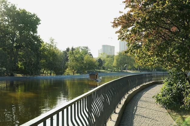晴れた朝に湖のある美しい都市公園
