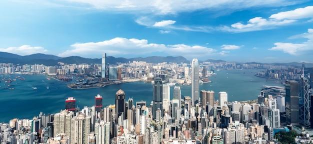 Beautiful city skyline of hong kong, china