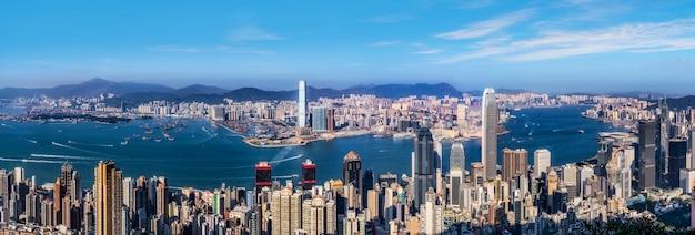 Красивый городской горизонт гонконга, китай