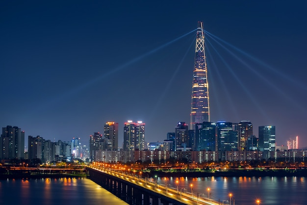 Beautiful cityscape at lotte world tower in seoul city, south korea.