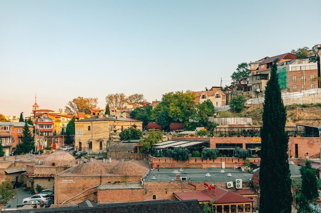 Beautiful cityscape of old town district in tbilisi, georgia.