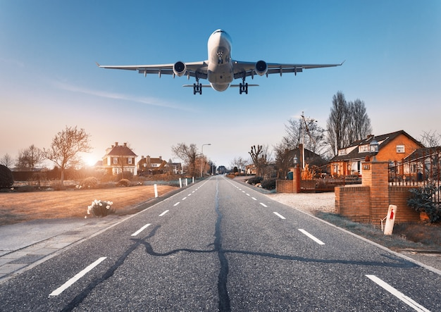 Beautiful cityscape with passenger airplane is flying in the sunset sky above the asphalt road  through the town with houses and courtyards at sunset in netherlands. landing airplane. white aircraft