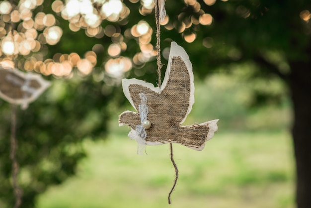 A beautiful close-up bird applique hangs during sunset on a branch.