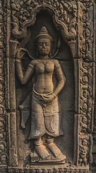 빈 앙코르 와트 사원 단지 유적 반테이 크데이 사원 씨엠립 캄보디아의 아름다운 클로즈업
