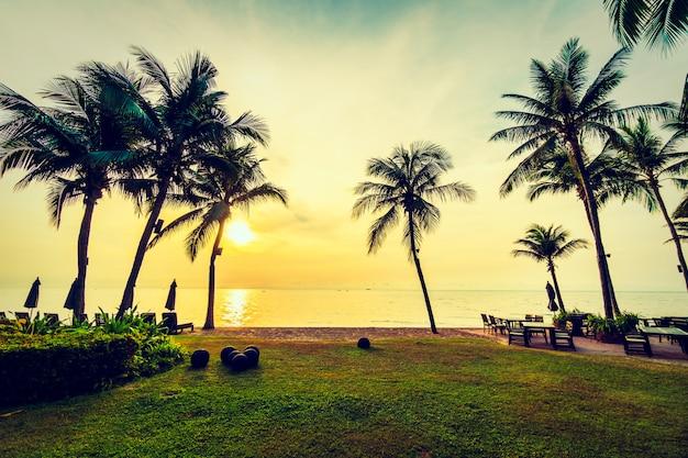 해변과 바다에 아름다운 코코넛 야자 나무
