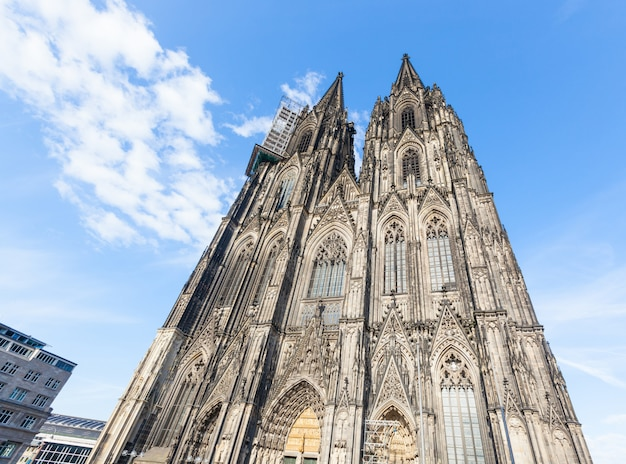 Beautiful cologne gothic cathedral facade