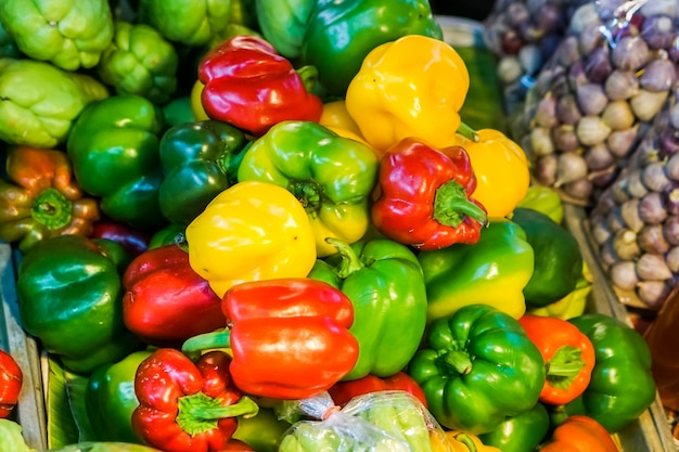 Beautiful of colorful bell pepper group in the market.