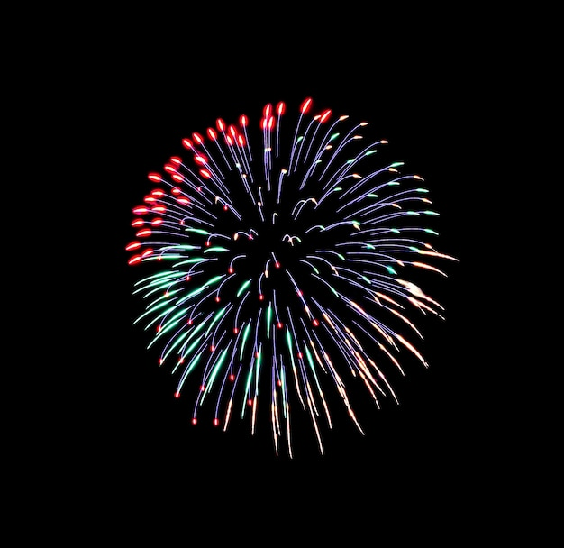 Beautiful colorful fireworks exploding in the night sky