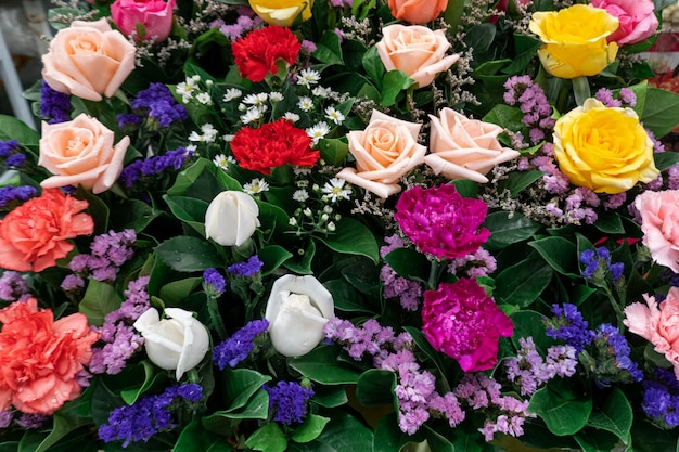 Beautiful colorful flowers in the shop
