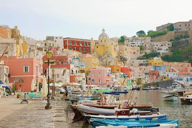 Beautiful colorful harbor of procida island, italy
