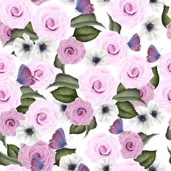 バラとアネモネの花、葉を持つ美しいカラフルなパターン