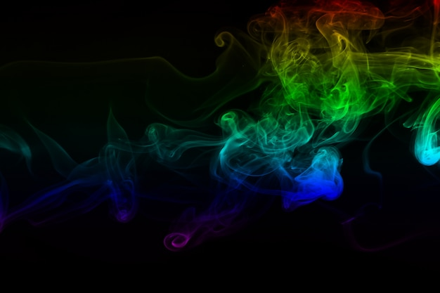 Beautiful colorful smoke abstract on black
