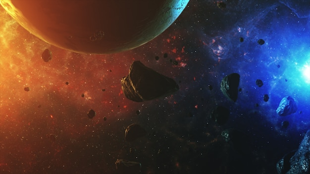 A beautiful colorful space with asteroids with sounds and a planet