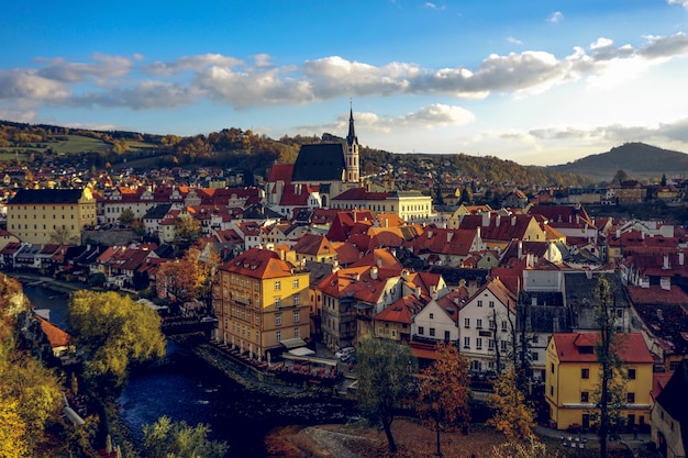 Beautiful and colorful view of the old town of cesky krumlov czech republic, during the sunset.