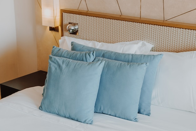 Beautiful and comfortable pillow decoration in bedroom interior