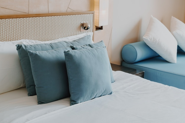 Beautiful and comfortable pillow decoration in bedroom