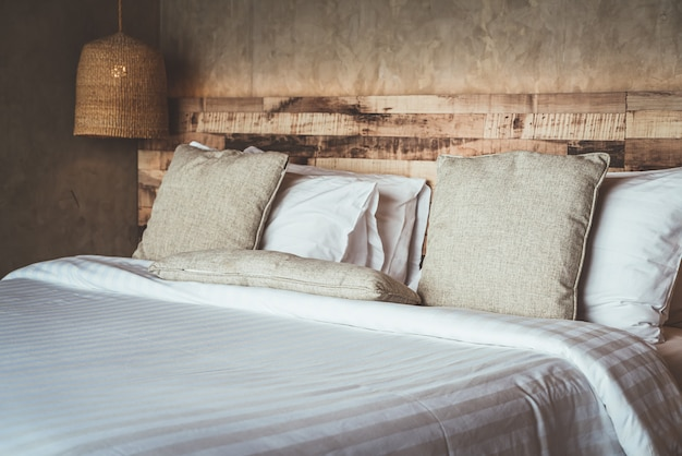 Beautiful comfortable pillows on bed