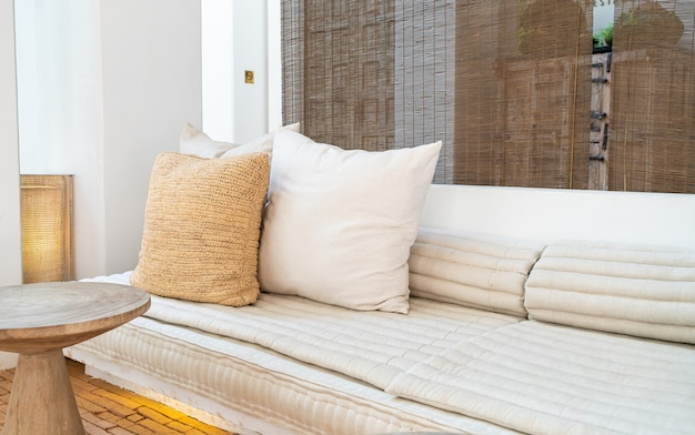 Beautiful and comfortable pillows decorate on sofa