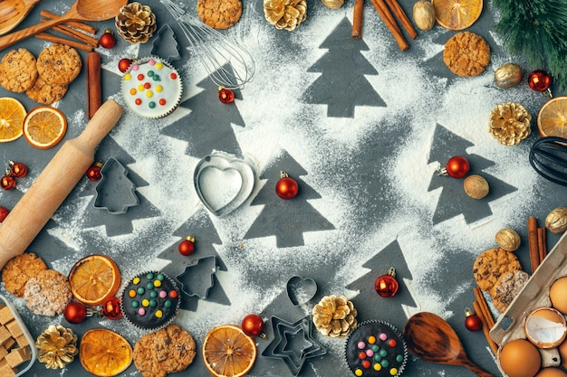 Beautiful composition of christmas sweets with decorations