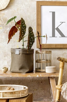 Beautiful composition at home interior with wooden bench, rattan decoration, furniture, plant in neutral pot and personal accessories in stylish home decor.