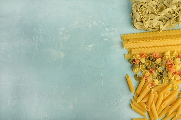 Beautiful composition of pasta with space for text