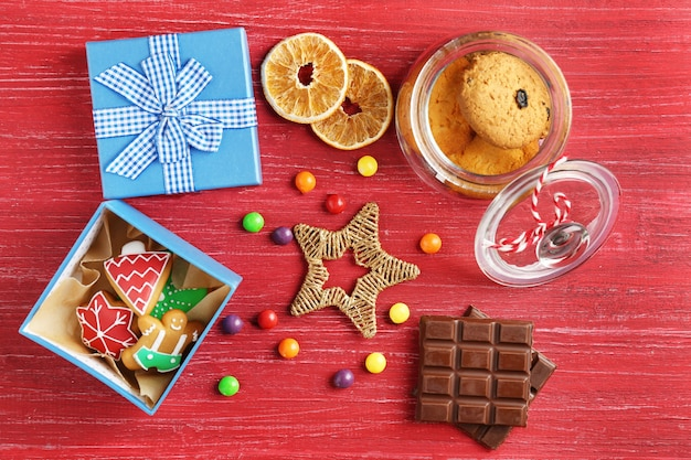 Beautiful composition with christmas cookies on wooden background