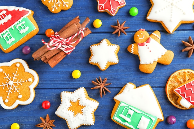 Beautiful composition with christmas cookies on wooden surface